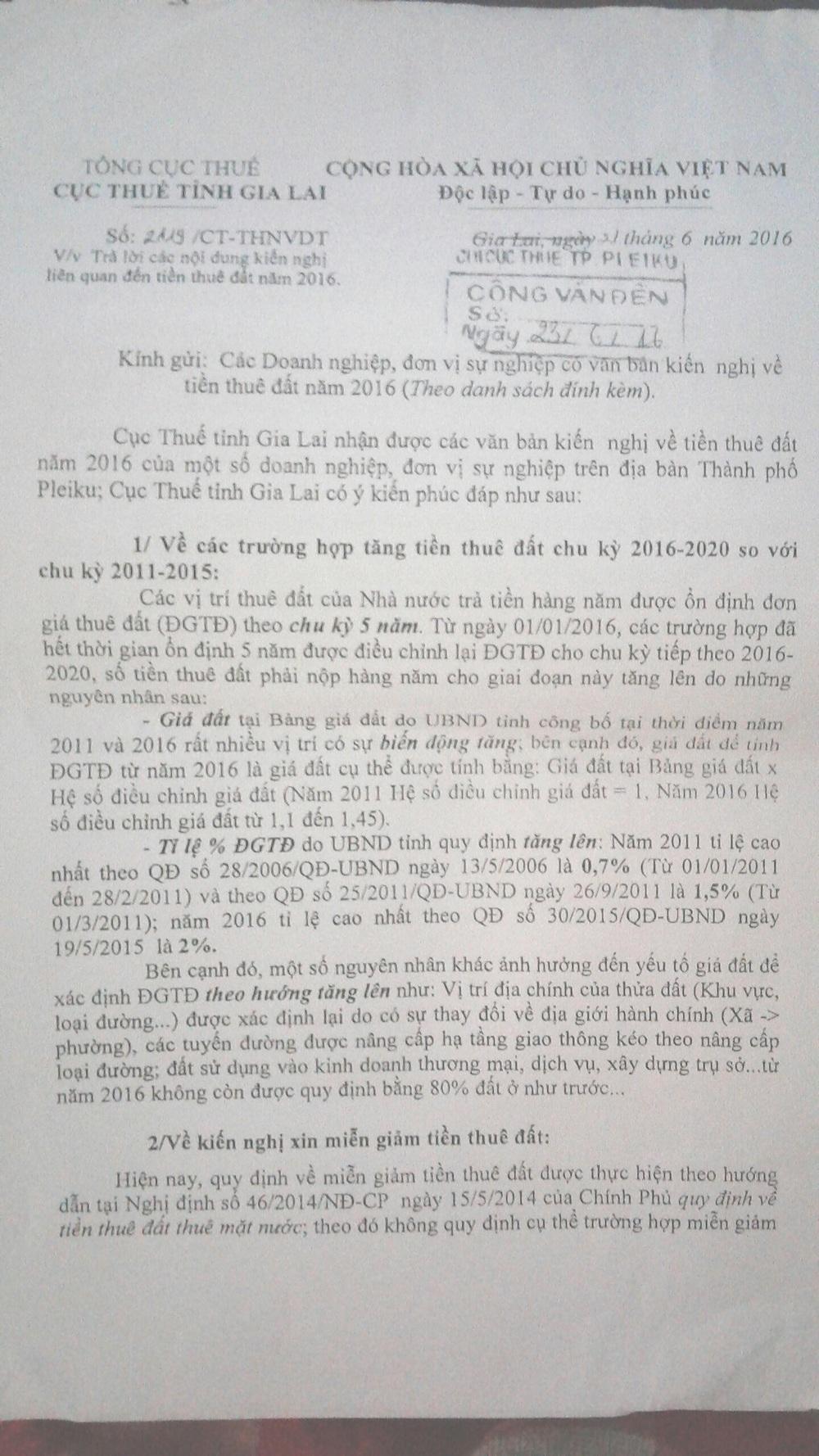 Văn bản của Cục thuế Gia Lai trả lời doanh nghiệp kiến nghị về việc tăng thuế