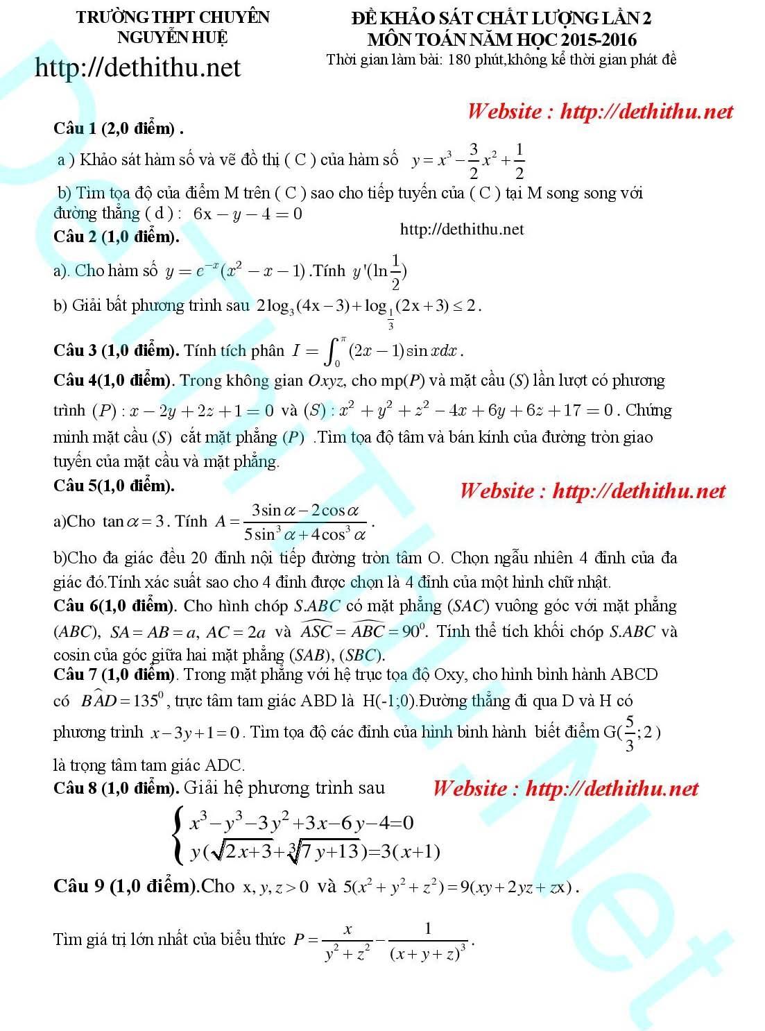 10 đề thi thử THPT quốc gia 2016 môn Toán - 4