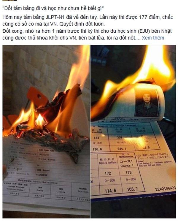 Hình ảnh đốt chứng chỉ du học Nhật được Hung đăng trên trang cá nhân mới đây