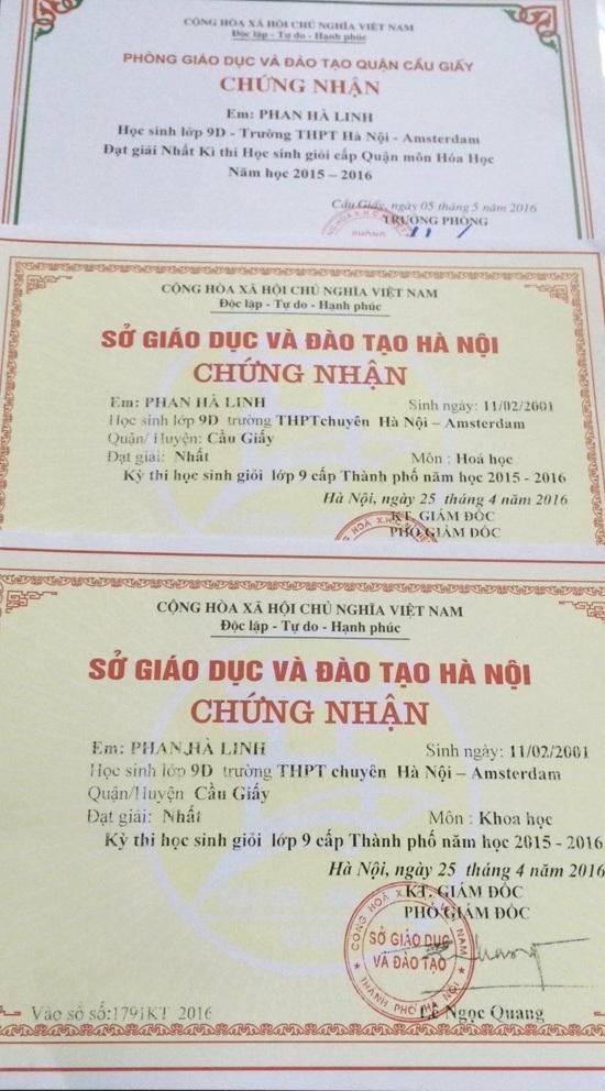 Giấy khen và giải thưởng của Linh trong các năm học cấp 2
