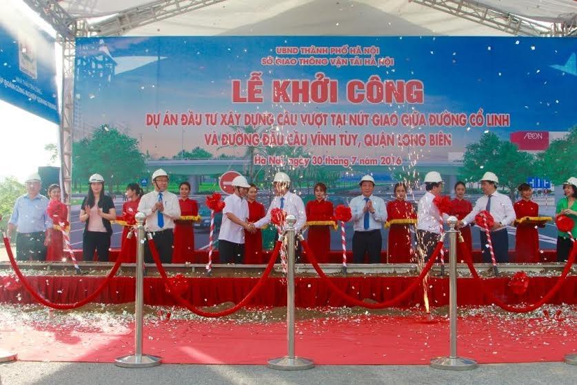 Hà Nội chính thức khởi công cầu vượt tại nút giao Cổ Linh - Vĩnh Tuy