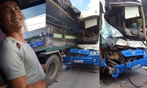 """Chiều 6/9, xe khách BKS 53N-2824, chở 30 người, lưu thông trên đèo Bảo Lộc (tỉnh Lâm Đồng), trong lúc đang đổ đèo với tốc độ cao thì tài xế phát hiện xe bị mất phanh. Lao vun vút qua những khúc cua nguy hiểm, xe khách đâm vào đuôi xe tải chở nông sản mang BKS 49C-0985, do tài xế Phan Văn Bắc điều khiển. Sau đó, anh Bắc dùng xe tải """"dìu"""" xe khách khoảng 500 m và dừng được 2 xe an toàn."""