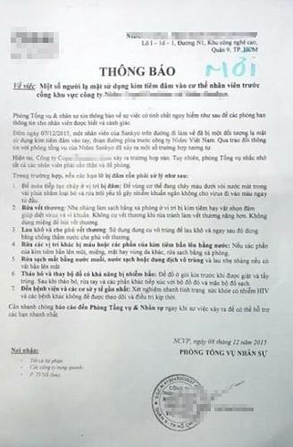 Thông báo của công ty N. liên quan đến vụ việc hàng loạt công nhân bị đâm vật nhọn (kim tiêm) vào cơ thể.
