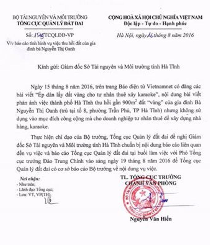 Văn bản chỉ đạo làm rõ vụ việc của Bộ TN&MT