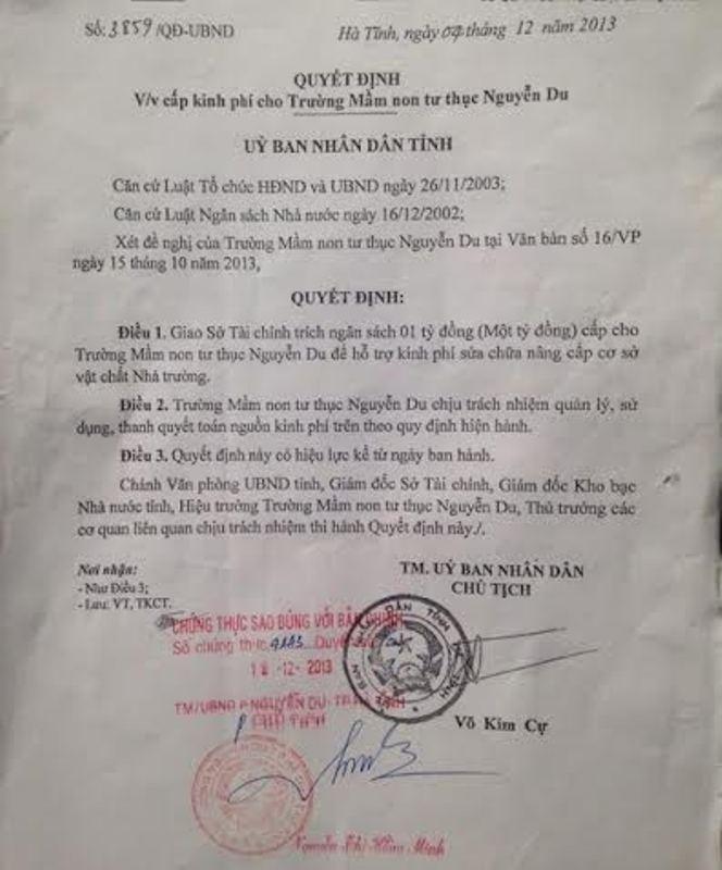 Quyết định trích 1 tỷ đồng tiền ngân sách cho Trường Mầm non tư thục Nguyễn Du do ông Cự ký.