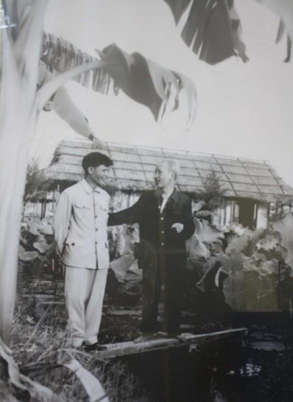 Bác Hồ và Đại tướng Nguyễn Chí Thanh bên ao sen ở Hà Tĩnh. Ảnh tư liệu