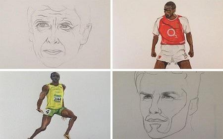 Những bức tranh vẽ của Fraser, từ trên xuống dưới: huấn luyện viên Arsene Wenger, cầu thủ bóng đá Thiery Henry, vận động viên Usain Bolt và cầu thủ bóng đá David Beckham