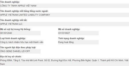 Thông tin về công ty Apple Việt Nam trên trang web của Cục đăng ký kinh doanh (Bộ Kế hoạch & Đầu tư)