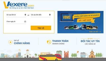 Giao diện trang web vexere.com