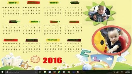 Sử dụng tờ lịch tự thiết kế làm hình nền cho desktop