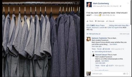 """Tủ đồ """"đặc biệt"""" khiến Mark Zuckerberg không biết phải chọn gì để mặc"""