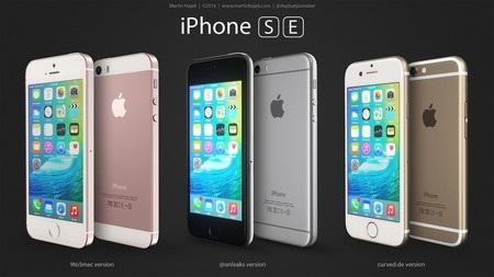 Ý tưởng thiết kế iPhone SE dựa vào 3 nguồn tin, theo trang công nghệ 9to5Mac (trái), tài khoản Twitter OnLeaks (giữa) và trang công nghệ Curved.de