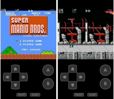 """Giao diện của game """"Super Marios Bros"""" và game """"Super Contra"""", 2 trong số những tựa game nổi tiếng trên hệ máy NES"""