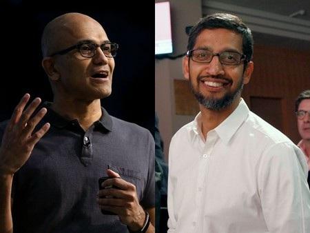 CEO Satya Nadella của Microsoft (trái) và CEO Sundar Pichai của Google (phải) có mối quan hệ tốt đẹp hơn so với 2 vị CEO tiền nhiệm