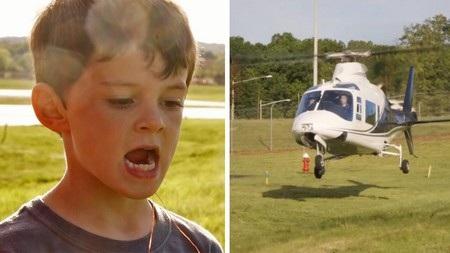 Cậu bé Carson và chiếc máy bay trực thăng do chính cha mình điều khiển làm nhiệm vụ... nhổ răng