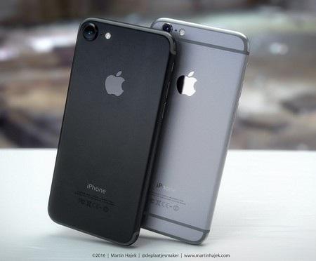 iPhone 7 màu đen và iPhone 6S màu xám, với điểm khác biệt là sự biến mất của dải ăn-ten ở mặt sau iPhone 7