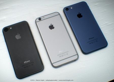 Mặt sau của phiên bản iPhone 7 màu đen và màu xanh, xen giữa là phiên bản iPhone 6S màu xám