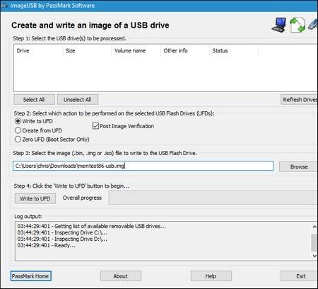 Hộp thoại khởi tạo USB khởi động của phần mềm MemTest86