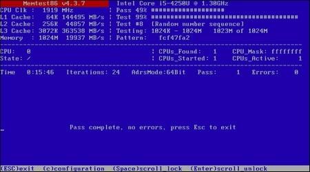 Giao diện quét để kiểm tra lỗi bộ nhớ RAM của MemTest86