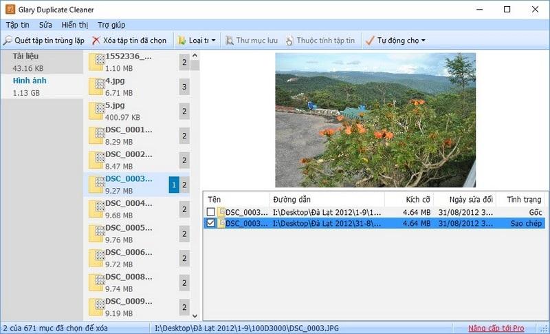 Phần mềm sẽ chỉ rõ đâu là file gốc, đâu là file được sao chép