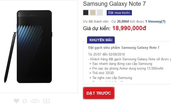 Giá dự kiến của Note 7 tại thị trường Việt Nam là từ 18,99 triệu đồng