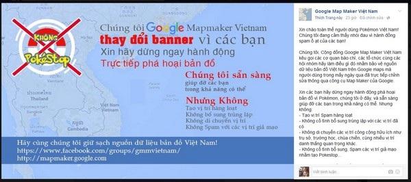 """Thông điệp được chia sẻ trên trang Facebook """"Google Map Maker Việt Nam"""" về việc nhiều người chơi Pokemon Go đang cố ý thay đổi các địa điểm trên Google Maps để mang lại lợi ích cho cá nhân"""