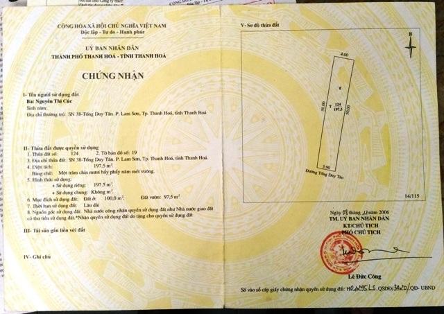 Sổ đỏ AG 725761 được UBND thành phố cấp cho thửa đất số nhà 38 Tống Duy Tân tháng 11 năm 2006