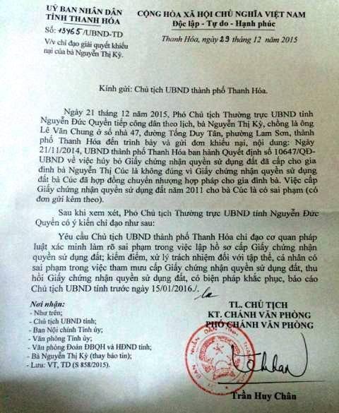 Văn bản của UBND tỉnh Thanh Hóa yêu cầu thành phố Thanh Hóa xử lý dứt điểm vụ việc, xử lý tập thể cá nhân sai phạm