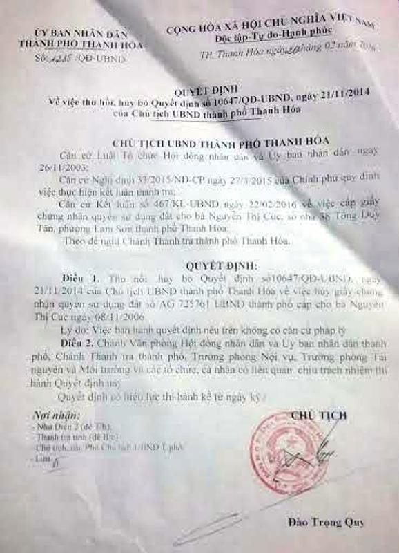 Quyết định thu hồi, hủy bỏ Quyết định 10647/QĐ-UBND ngày 21/11/2014 của UBND thành phố Thanh Hóa