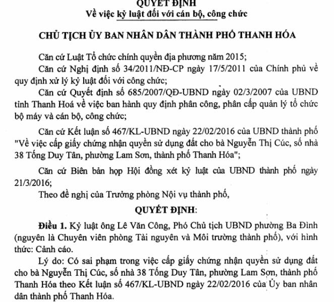 Quyết định kỷ luật ôn Lê Văn Công, Phó Chủ tịch UBND phường Ba Đình