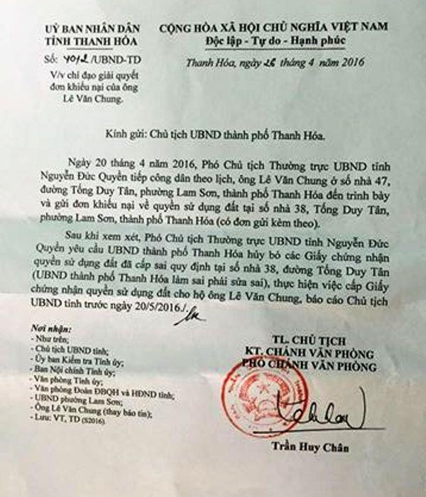 Công văn nêu ý kiến chỉ đạo của Phó Chủ tịch UBND tỉnh Thanh Hóa yêu cầu UBND thành phố Thanh Hóa xử lý dứt điểm vụ cấp nhiều sổ đỏ trái phép cho số nhà 38 Tống Duy Tân