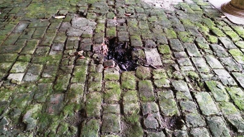 Nền nhà được lát gạch thô sơ, do thường xuyên hứng chịu nước mưa từ trên mái xuống khiến nền nhà luôn trong tình trạng ẩm thấp, rêu mốc phủ đầy.