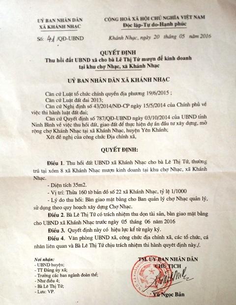 Quyết định thu hồi đất 35m2 đất của cụ Tứ do Chủ tịch UBND xã Khánh Nhạc ban hành