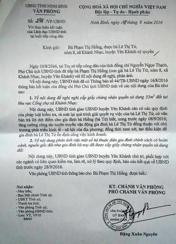 Văn bản nêu rõ nội dung chỉ đạo của ông Nguyễn Ngọc Thành, Phó Chủ tịch UBND tỉnh Ninh Bình với những kiến nghị, phản ánh của bà Hiềng.