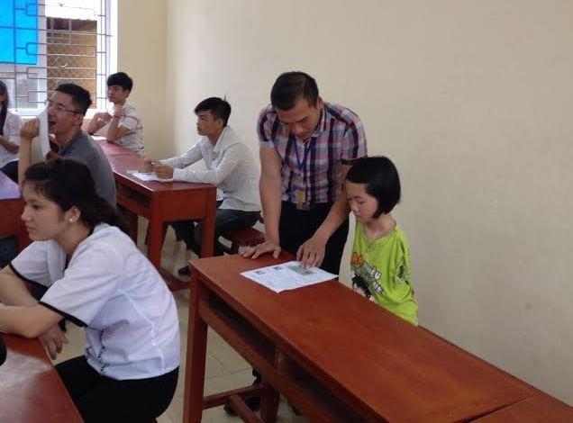 Thắm là thí sinh đặc biệt đến dự thi tại điểm thi trường THPT Quảng Xương 1 (Thanh Hóa)