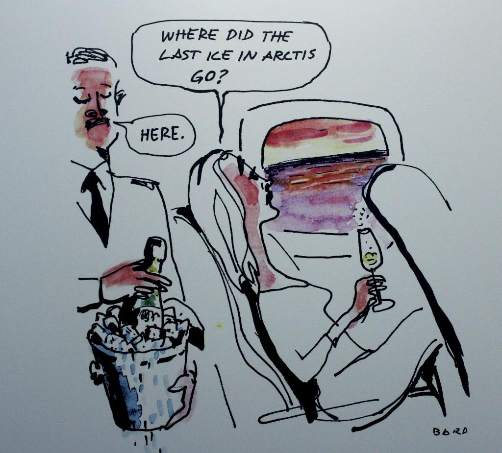 Qua bức trạnh biếm họa này, họa sĩ Magnus Bard muốn gửi gắm thông điệp về sự tan chảy băng ở Bắc Cực