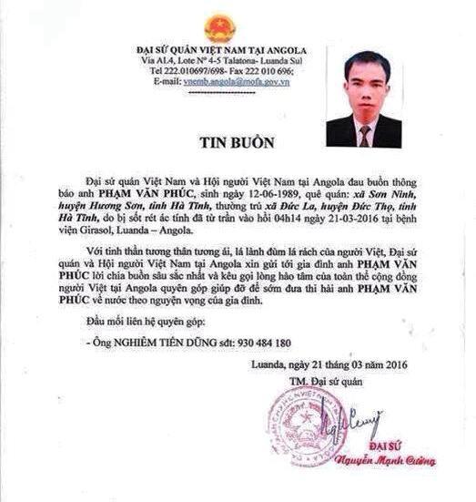 Đại sứ quán thông báo tin buồn về sự ra đi của anh Phạm Văn Phúc (Ảnh: ĐSQ)