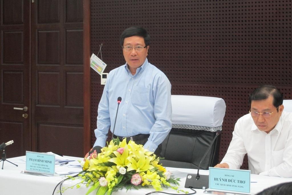 Phó Thủ tướng Phạm Bình Minh phát biểu tại buổi làm việc