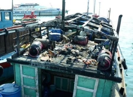 Một vụ nổ bình ga trên tàu cá