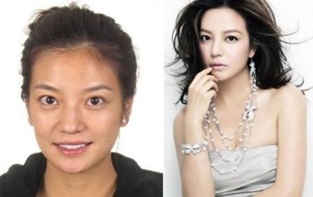 """""""Mẹ hổ"""" Triệu Vy có đường nét khuôn mặt không thay đổi quá nhiều nhưng nước da của nữ diễn viên này khi không trang điểm trông lại khá đen và xấu."""