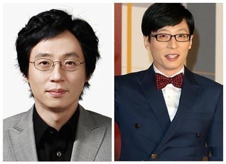 """""""MC quốc dân"""" Yoo Jae Suk trông cũng không thay đổi gì nhiều với đôi kính mắt quen thuộc và nét mặt khá hài hước."""