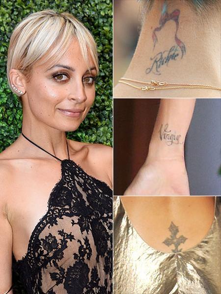 Nicole Richie hối hận về khá nhiều hình xăm trên người mình, trong đó có hình xăm thập giá ở gần vòng 3, hình xăm chữ Virgin ở cổ tay, Nicole xăm hình này năm 16 tuổi vì cô thuộc cung Xử Nữ - Virgo và hình xăm chữ Richie sau cổ.