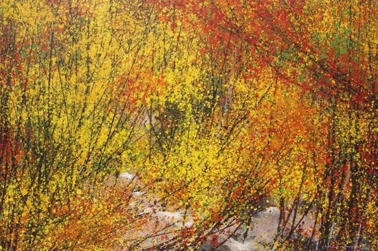 Anh thường chọn màu sắc rực rỡ và mạnh mẽ khi thể hiện những bức tranh phong cảnh