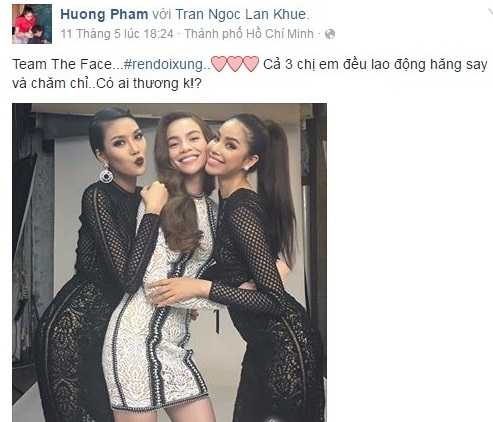 Trên trang cá nhân, Phạm Hương chia sẻ hình ảnh hai người cùng tham gia quay hình cho một chương trình và trong ảnh cho thấy Hà Hồ ôm eo Phạm Hương rất tình cảm.