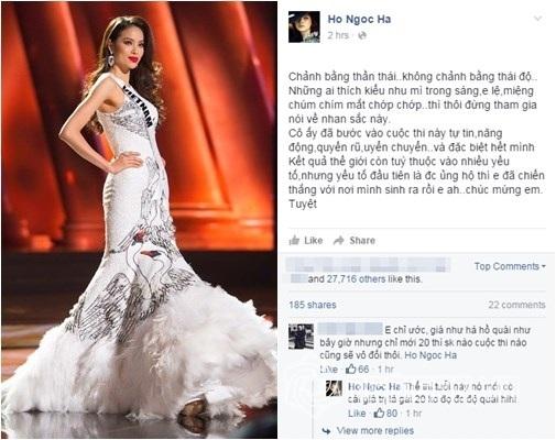 Hồ Ngọc Hà từng hết lời khen ngợi và lên tiếng bênh vực Phạm Hương khi cô đang tham gia cuộc thi Hoa hậu Hoàn vũ thế giới tại Mỹ