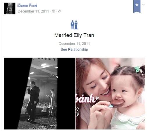Thông tin của người đàn ông với chia sẻ mối quan hệ đã kết hôn cùng Elly Trần trên trang facebook