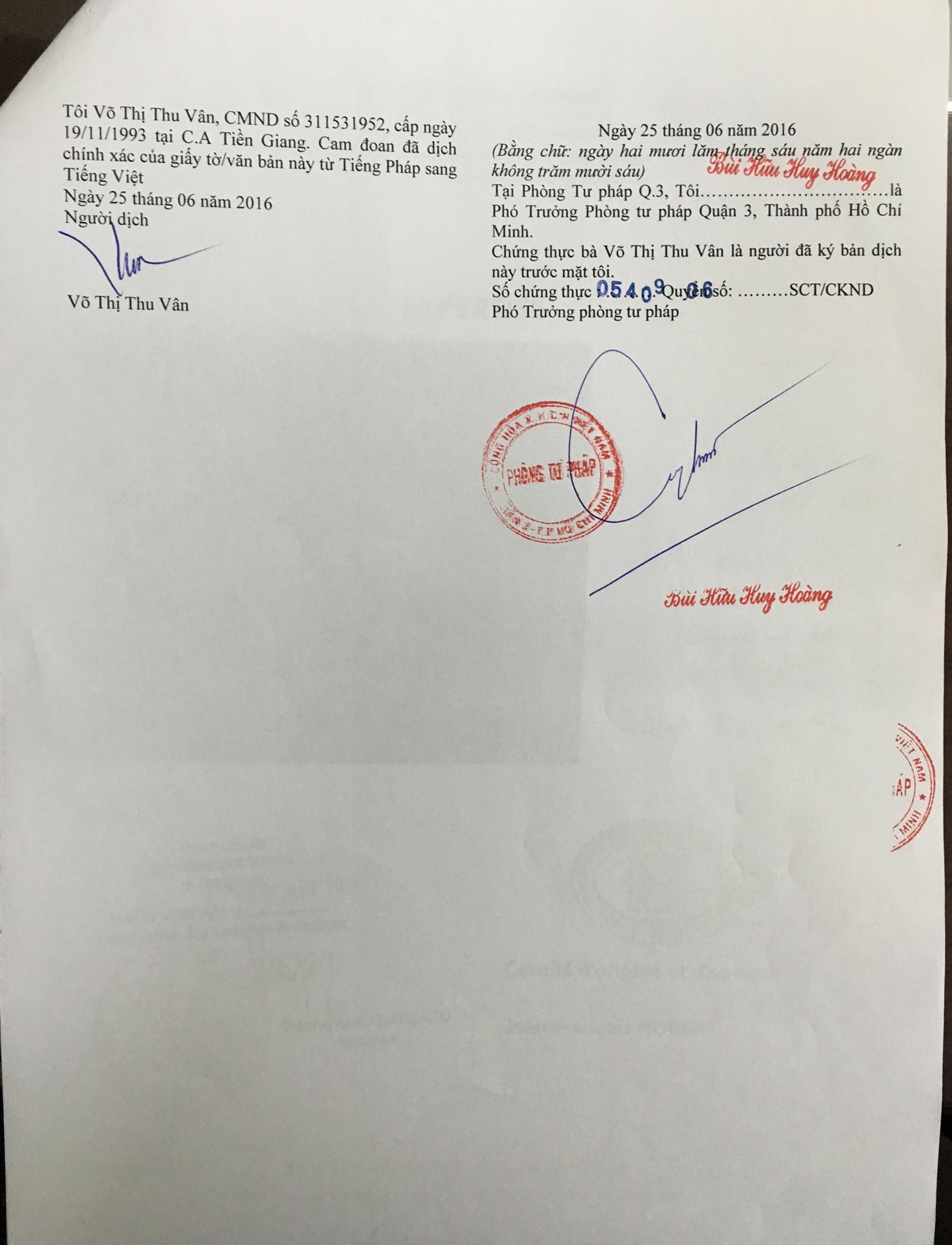 Giấy công chứng về bản chính của giấy xác nhận, đánh giá của chuyên gia