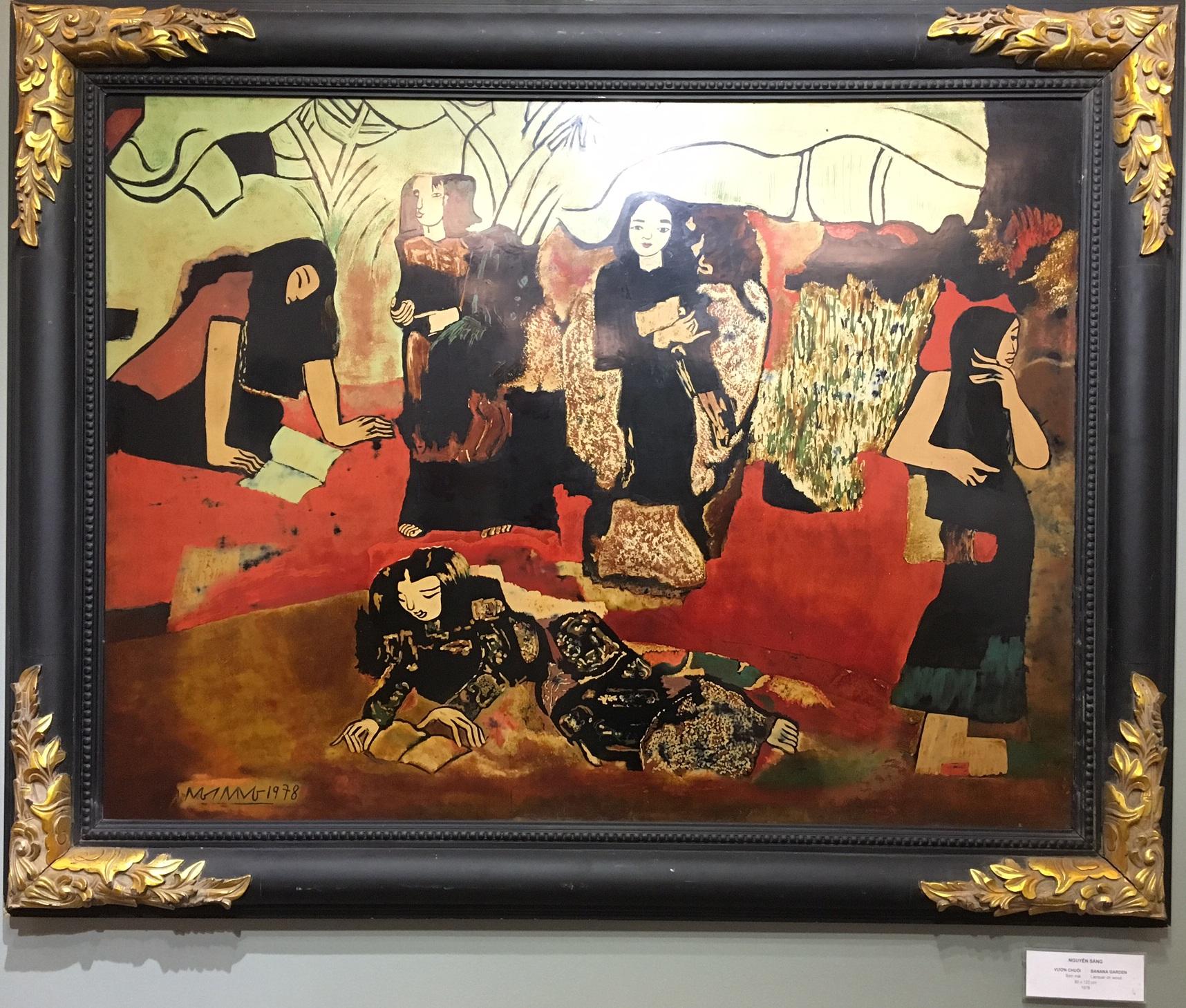 Một trong những bức tranh gây tranh cãi là tranh giả. Tác phẩm Vườn chuối (Nét duyên dáng) của họa sĩ Dương Bích Liên.