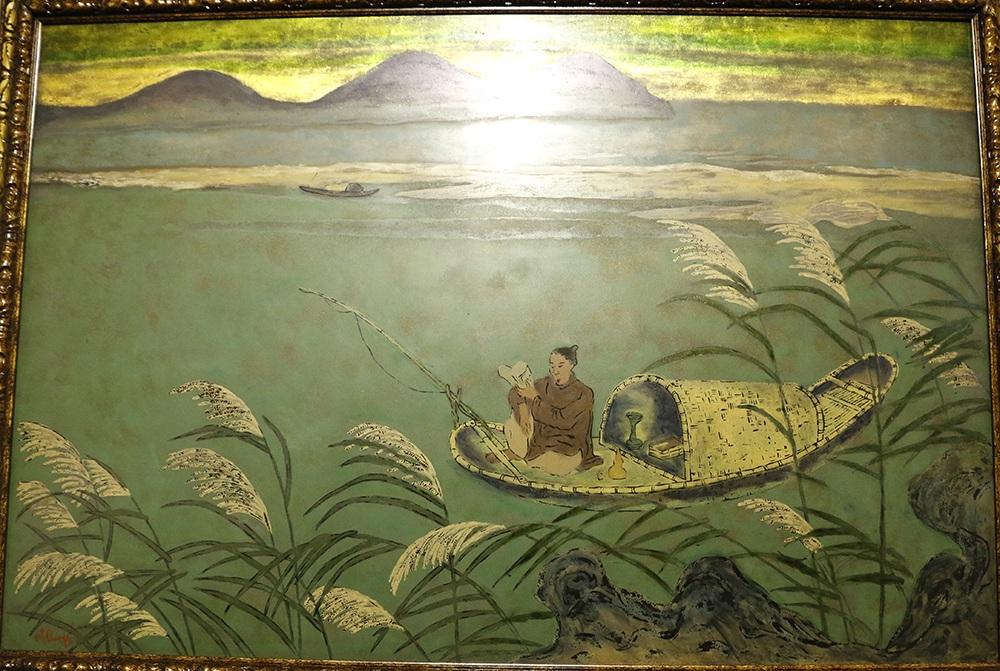 Tác phẩm Nhà thơ Nguyễn Du ngồi trên thuyền câu cá của họa sĩ Nguyễn Tiến Chung