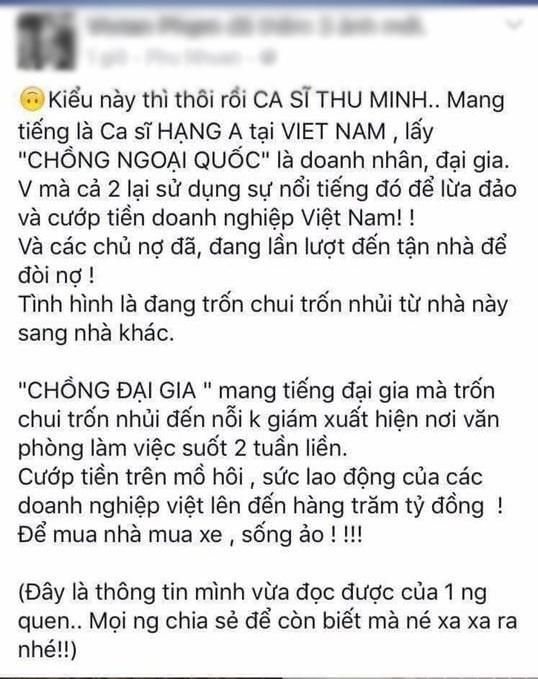 Thông tin đăng tải tố ca sĩ Thu Minh